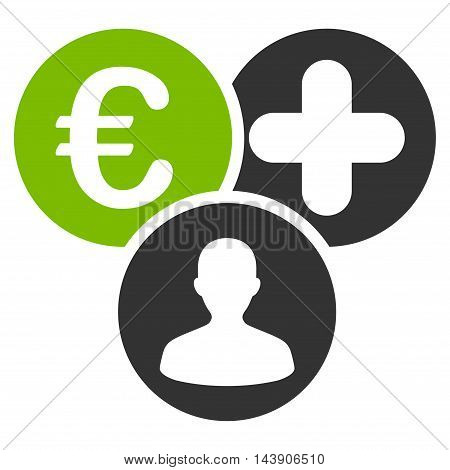 Euro Medical Expences icon. Vector style is bicolor flat iconic symbol with rounded angles, eco green and gray colors, white background.