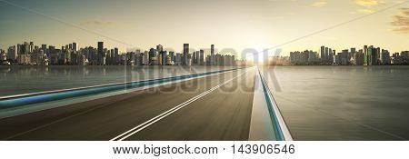 Highway overpass motion blur with city skyline background . warm mood . mood . horizontal.