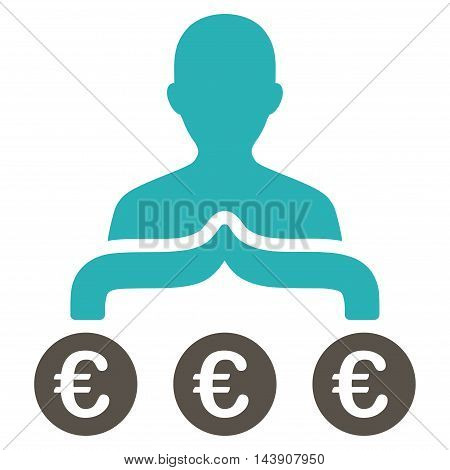 Euro Capitalist icon. Vector style is bicolor flat iconic symbol with rounded angles, grey and cyan colors, white background.