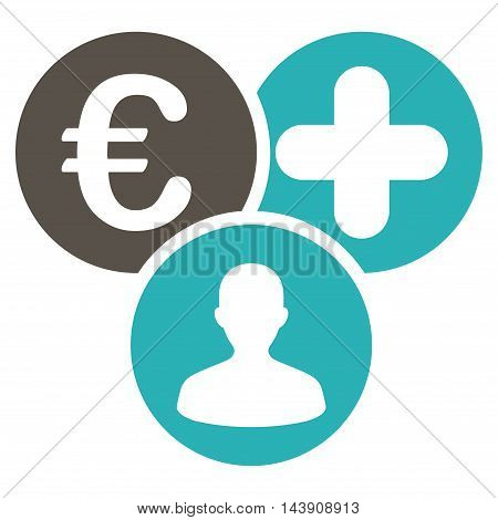 Euro Medical Expences icon. Vector style is bicolor flat iconic symbol with rounded angles, grey and cyan colors, white background.