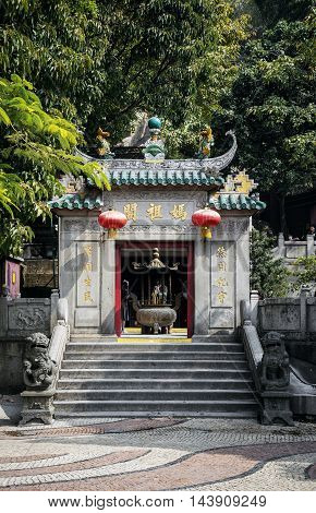 famous landmark a-ma ama chinese temple entrance door in macao macau