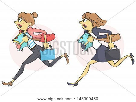 Business woman or a clerk running in stress due to a deadline,  getting late for work or a meeting. Set of two characters.