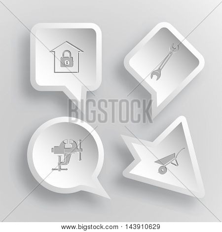 4 images: bank, spanner, clamp, wheelbarrow. Industrial tools set. Paper stickers. Vector illustration icons.