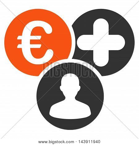 Euro Medical Expences icon. Vector style is bicolor flat iconic symbol with rounded angles, orange and gray colors, white background.