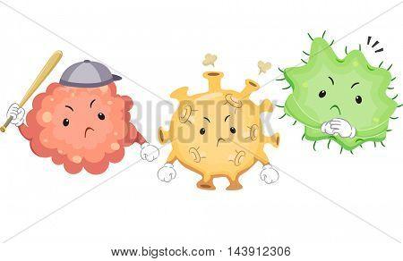 Mascot Illustration of Viruses Dressed Like Bullies