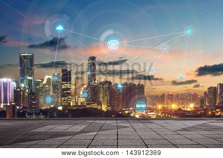 smart city and wireless communication network abstract image visual internet of things