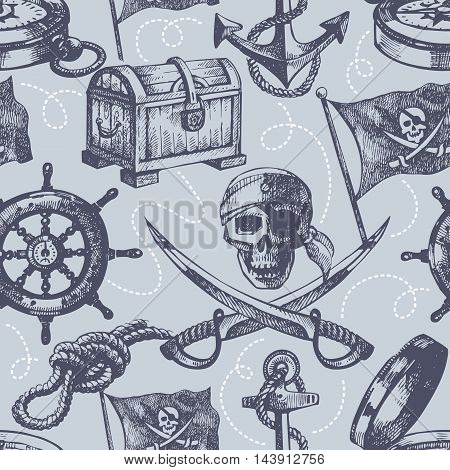 Hand drawn pirate seamless pattern vector illustration