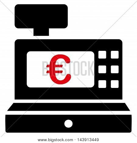 Euro Cashbox icon. Vector style is bicolor flat iconic symbol with rounded angles, intensive red and black colors, white background.