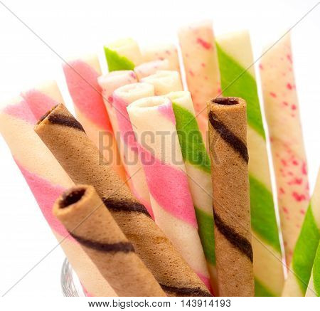 Wafer Biscuits Indicates Multicolored Cookies And Bickies