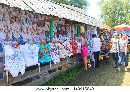 Velyki Sorochyntsi -August 20, 2016: Ukrainian embroidered clothes on Sorochintsy Fair in Velyki Sorochyntsi, Ukraine