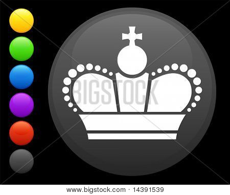 Royal crown icon on round internet button original vector illustration 6 color versions included