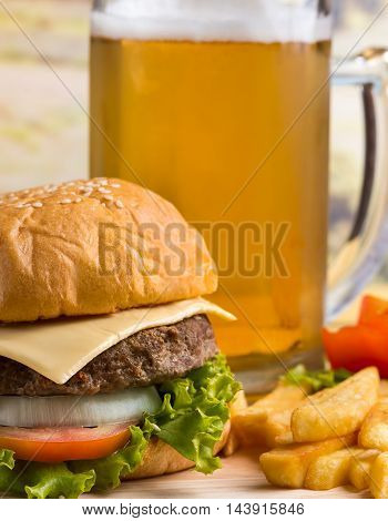 Burger With Beer Represents Quarter Pounder And Burgers