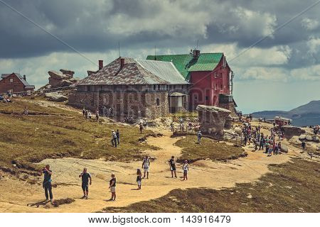 Hikers At Babele Chalet, Bucegi Mountains, Romania