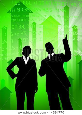 Business Couple on Green Stock Market Background Original Vector Illustration