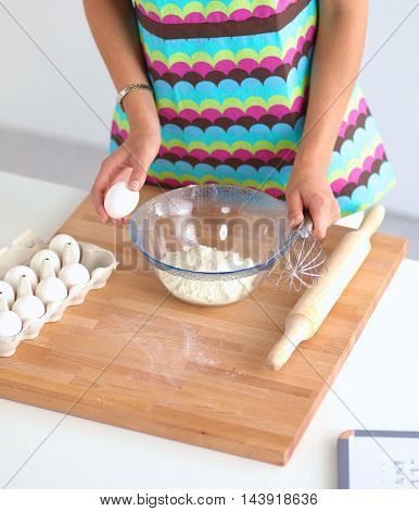 Baking ingredients for shortcrust pastry, plunger on the desk