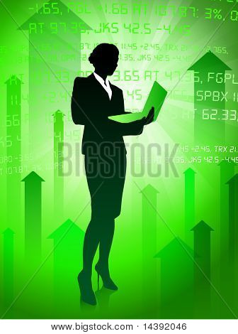 Businesswoman on Green Stock Market Background Original Vector Illustration