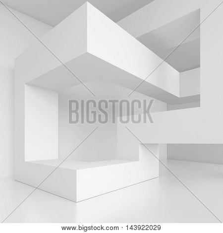3d Illustration of White Modern Architecture Background. Abstract Building Blocks. Minimal Geometric Shapes Design