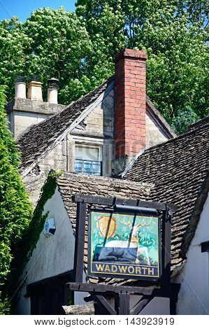CASTLE COMBE, UNITED KINGDOM - JULY 20, 2016 - The White Hart Pub sign Castle Combe Wiltshire England UK Western Europe, July 20, 2016.