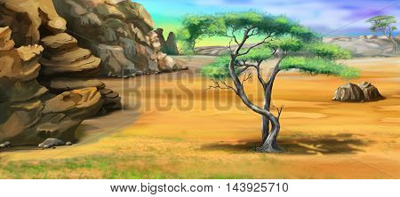 Digital Painting Illustration of a acacia tree near the rocky mountains. Cartoon Style Character Fairy Tale Story Background.