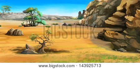 Digital Painting Illustration of a African landscape with trees near the mountains. Cartoon Style Character Fairy Tale Story Background.