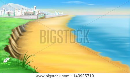 Digital Painting Illustration of a desert coast near ancient Troy in a summer day. Cartoon Style Character Fairy Tale Story Background.