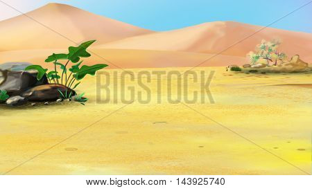 Digital Painting Illustration of a Lonely Plant in a Desert. Cartoon Style Artwork Scene Story Background.