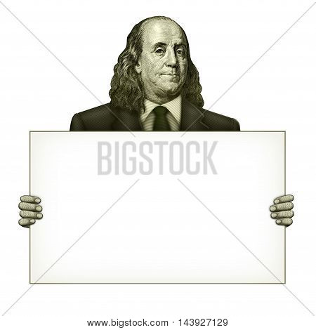 Blank Sign Held By Benjamin Franklin