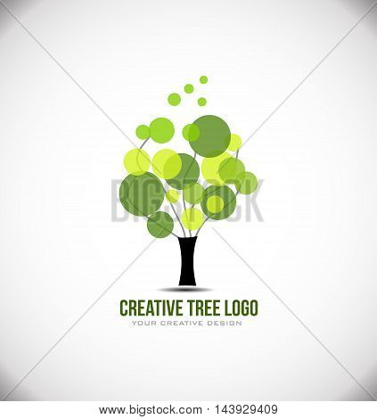 Creative tree concept logo design icon vector element template nature circle leaf green
