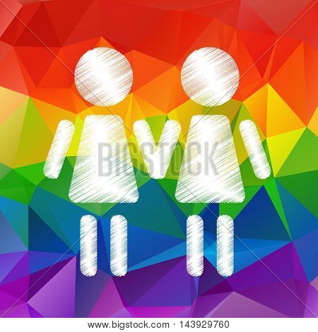 Lesbian couple on a bright rainbow background.