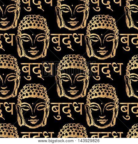 seamless pattern of golden Buddha head and the inscription on the language of Nepal - Buddha on a black background