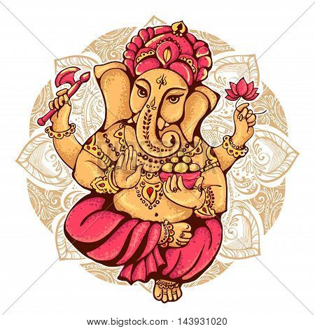 lord Ganesh. Ganesh Puja. Ganesh Chaturthi. It is used for postcards prints textiles tattoo.