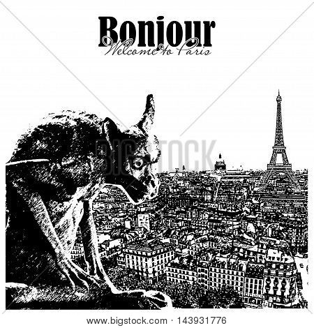 Chimera and stone  gargoyle with Paris city on background. View from Notre Dame de Paris. Vector illustration