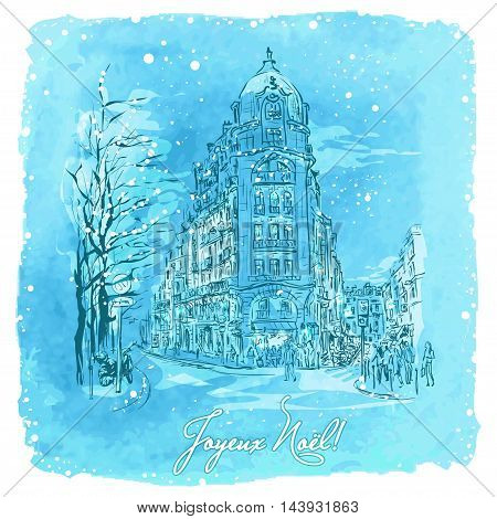 vector illustration Christmas Paris on watercolor background. Dusk, Illuminated houses in Paris and snow.