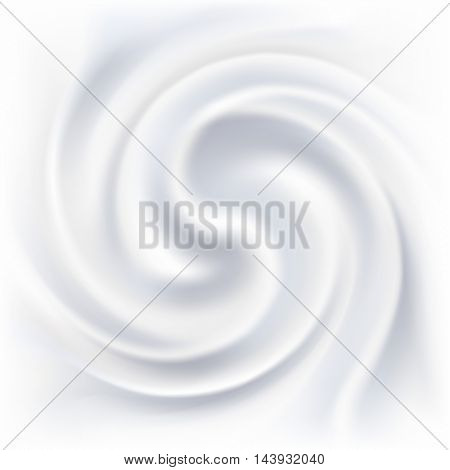 Abstract white cream swirl vector background.