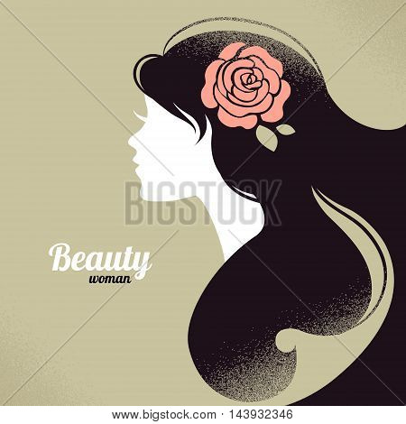 Vintage retro beautiful girl silhouette vector illustration