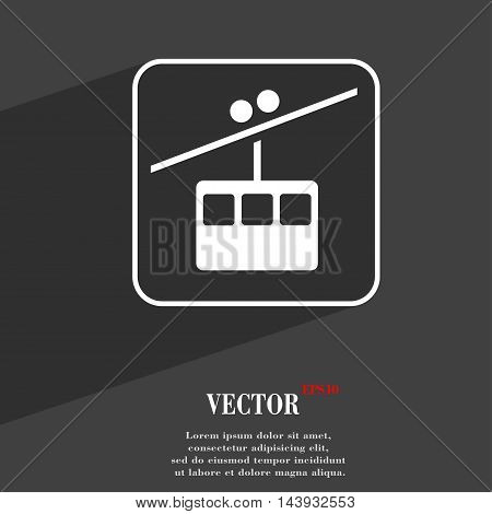 Cable Car Line Symbol Flat Modern Web Design With Long Shadow And Space For Your Text. Vector