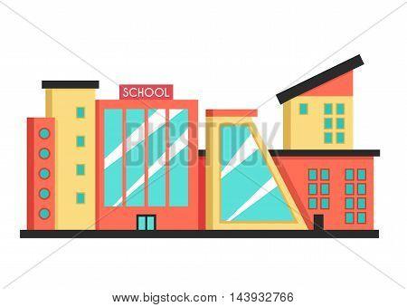 School building. Flat vector illustration. Constructivism style. Modern architecture. Bright design