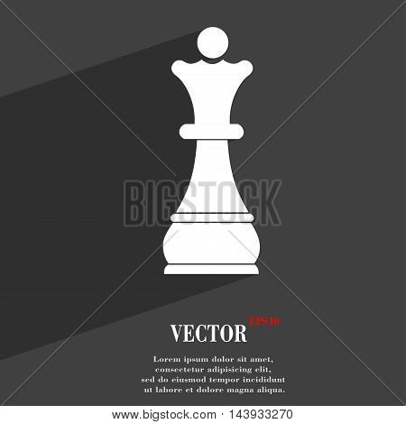 Chess Queen Symbol Flat Modern Web Design With Long Shadow And Space For Your Text. Vector