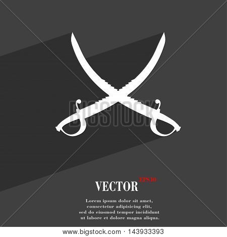 Crossed Saber Symbol Flat Modern Web Design With Long Shadow And Space For Your Text. Vector