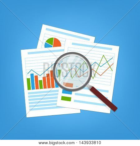 Concept for business planning and accounting, analysis, Financial Audit Concept, SEO analytics, tax audit, working, management. Paper analytic graphs and charts. Magnifying glass over the document.