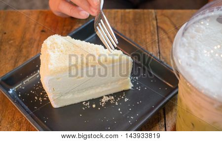 Piece of homemade cheese cake stock photo