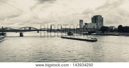 River Rhine Hohenzollernbruecke Koeln Cologne Germany waterway