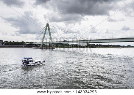 River Rhine Cologne Severinsbruecke water waterway ship