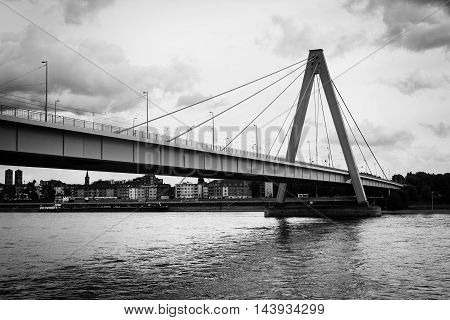 River Rhine Cologne Severinsbruecke black and white water