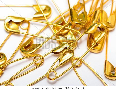 Safety Pins Represents Needle Workers And Clips