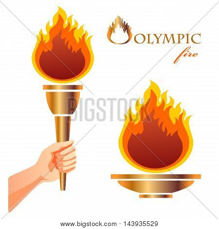 Olympic fire. Symbol of Olympic games. Torch and bowl.