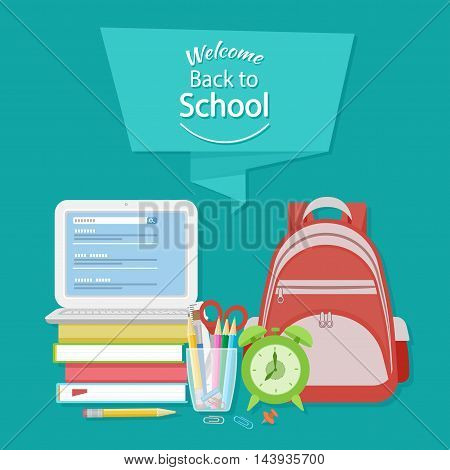 Welcome back to school text on the banner. Open laptop with search form, textbooks, alarm clock, schoolbag, stationery, pencils, scissors, paper clips. Flat Education Concept. Vector illustration.