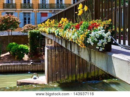 Footbridge across The Canal de la Robine in Narbonne city. Languedoc-Roussillon, France