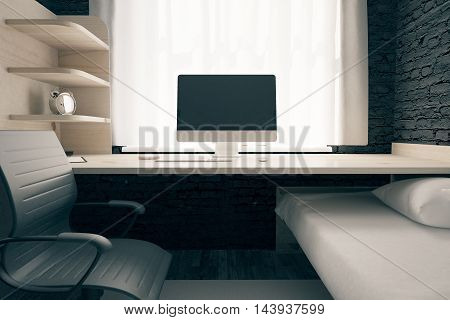 Front view of workplace with blank computer screen in bedroom interior with swivel-chair and other objects. Mock up 3D Rendering