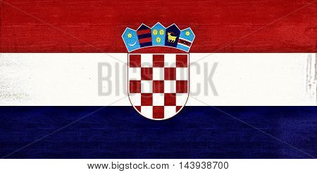 Illustration of the flag of Croatia with a grunge texture